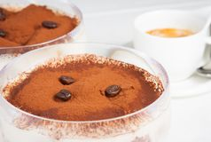Italian tiramisu dessert served in a cup on table restaurant Stock Photography