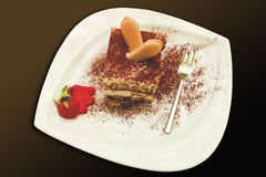 Italian tiramisu with strawberry Royalty Free Stock Photo