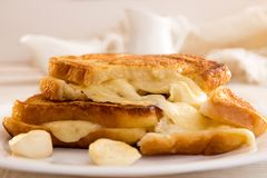 Italian toast sandwich with white bread and mozzarella cheese fr. Ied in oil. Mediterranean meal Royalty Free Stock Image
