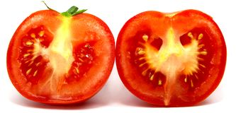 Italian tomato halved and close up. With white background Stock Images