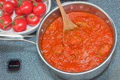 Italian Tomato Sauce and Meatballs Stock Images