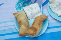 Italian torta fritta with gorgonzola cheese Royalty Free Stock Image