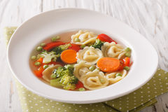 Italian tortellini soup with broccoli, peas, carrot and pepper c Stock Photo