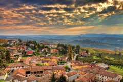 Italian town at sunset. Piedmont, Italy. Stock Images