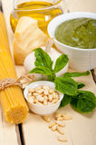 Italian traditional basil pesto pasta ingredients Royalty Free Stock Photography