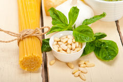 Italian traditional basil pesto pasta ingredients Stock Photography