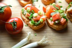 Italian traditional bruschetta close up baguette. Macro Royalty Free Stock Photos