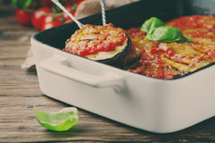 Italian traditional dish parmigiana with eggplant Royalty Free Stock Photos