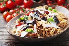 Italian traditional pasta with eggplant alla norma Royalty Free Stock Images
