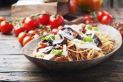 Italian traditional pasta with eggplant Royalty Free Stock Photo