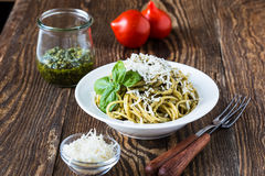 Italian traditional pasta with pesto sauce Royalty Free Stock Photo