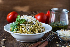 Italian traditional pasta with pesto sauce Stock Photo