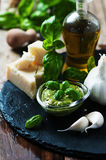 Italian traditional pesto with basil, chesse and oil Royalty Free Stock Image