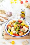 Italian traditional salad panzanella with fresh tomatoes and bread. Royalty Free Stock Image