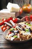 Italian traditional vegetarian pasta with eggplant Royalty Free Stock Photos