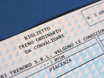 Italian train ticket Royalty Free Stock Images