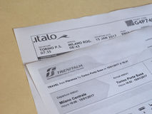 Italian train tickets Stock Photo