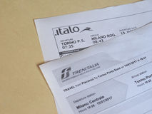 Italian train tickets Royalty Free Stock Photos