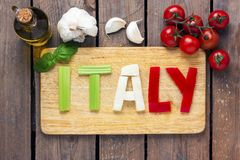 Italian tricolor with background - food Royalty Free Stock Photography