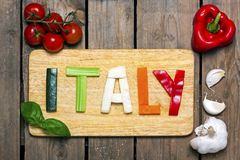 Italian tricolor with background - food Stock Images