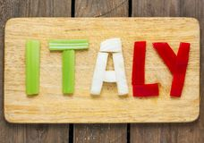 Italian tricolor with background - food Royalty Free Stock Photo