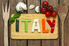Italian tricolor with background - food Royalty Free Stock Image