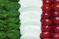 Italian tricolor with background - food Royalty Free Stock Photos