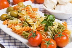 Italian tricolore pasta Stock Photo