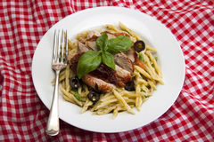 Italian trofie liguri pasta dish. Royalty Free Stock Image