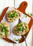 Italian tuna melt bruschetta. Top view Royalty Free Stock Images