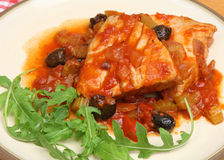 Italian Tuna Steaks Poached in Tomato and White Wine Sauce. Stock Images