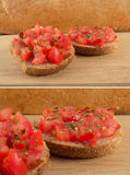 Italian/Tuscany bruschetta with dietetic bread Royalty Free Stock Images