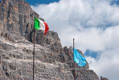 Italian and Unesco flags Stock Photos