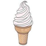 Italian vanilla gelato. Illustration of soft vanilla ice cream gelato Royalty Free Stock Photography