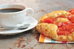 Italian vegetarian pizza and coffee in Italy Royalty Free Stock Image