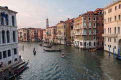 Italian Venice / View of the river and city historical architecture Stock Photo