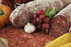Italian ventricina salami. On cutting board Royalty Free Stock Image
