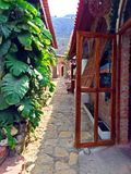 Italian Villa with Cobblestone Path, Ecuador Stock Photography