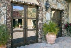 Italian villa entrance and courtyard plaza Royalty Free Stock Photo