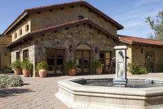 Italian villa fountain and courtyard plaza stock image