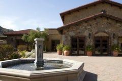 Italian villa fountain and courtyard plaza Royalty Free Stock Image