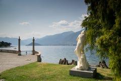 Italian villa garned on Como lake Royalty Free Stock Image