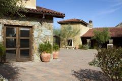 Italian villa home and courtyard plaza Stock Photo