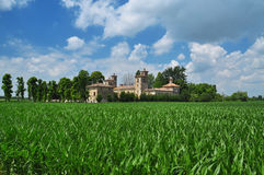 Italian villa and lombardy countryside landscape. Northern Italian villa (castle) in the Lombardy po plain. Agricultural lanscape, countryside by Cremona Royalty Free Stock Photos