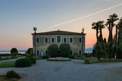 Italian villa at Punta San Vigilio, Lake Garda stock images