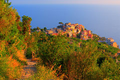 Italian village Corniglia at sunset Royalty Free Stock Photography