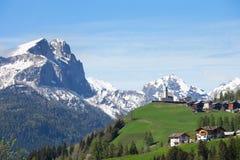 Italian village in Dolomites,  Italy. Stock Photo
