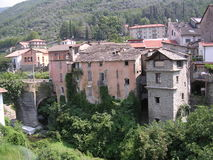 Italian Village ,Pieve di Teco. The village lies in a wooded valley. A mix of derelict,modernised and new housing royalty free stock images