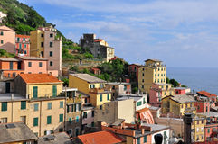 Italian village on sunset Stock Images