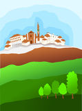 Italian village and the surrounding countryside Stock Photos